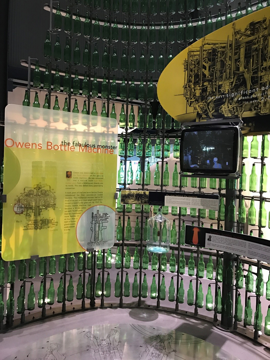 Our exhibit on the Owens Bottle Machine and the IS Bottle Machine.