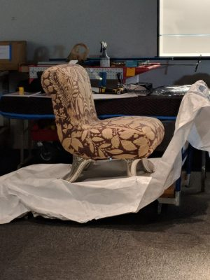 A chair is ready to install.