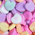 Pile of colored candy hearts