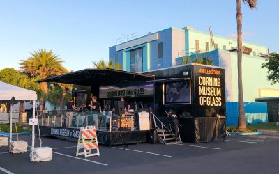 The CMoG Mobile Hot Shop set up in front of the Imagine Museum.